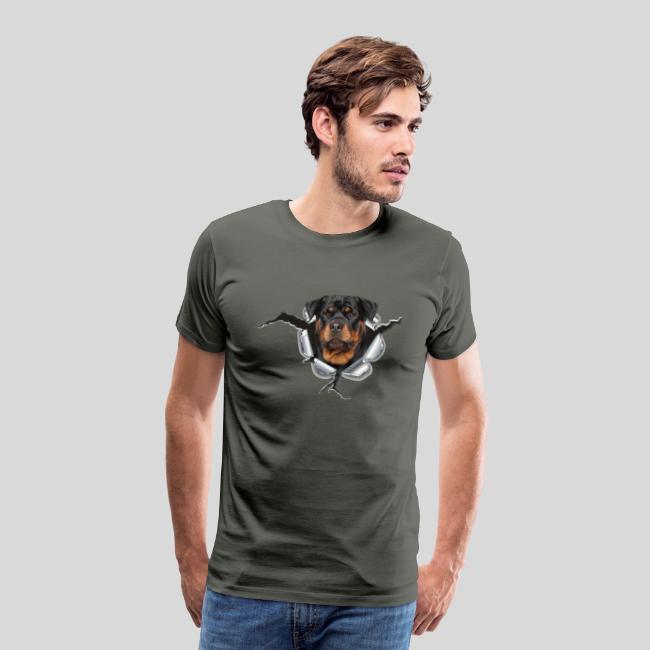 Rottweiler im Metall Loch