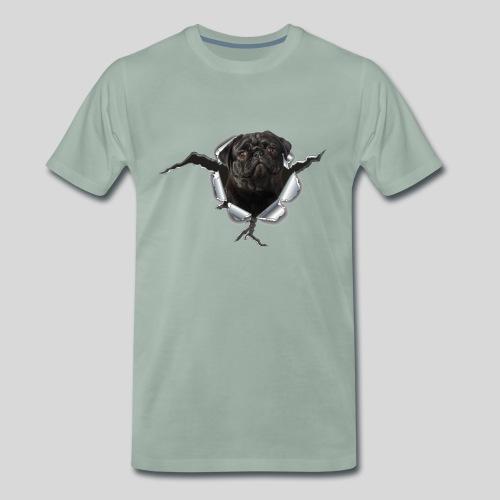 Schwarzer Mops im Metall Loch - Männer Premium T-Shirt