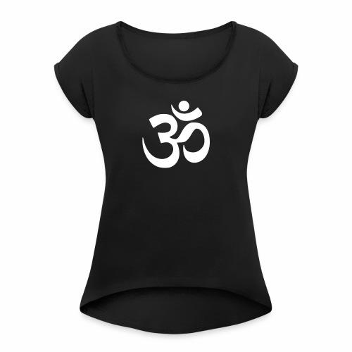 Namaste Symbol - T-Shirt - Frauen T-Shirt mit gerollten Ärmeln