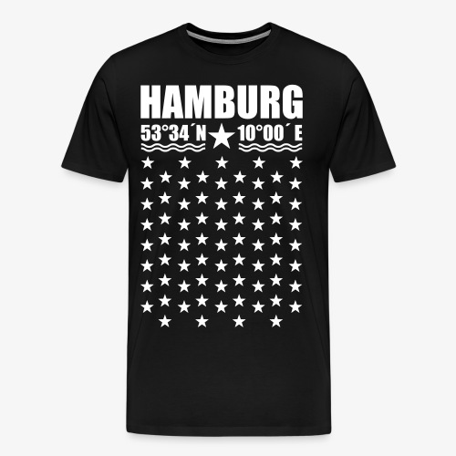 Hamburg Koordinaten Längengrad Breitengrad T-Shirt 67 - Männer Premium T-Shirt