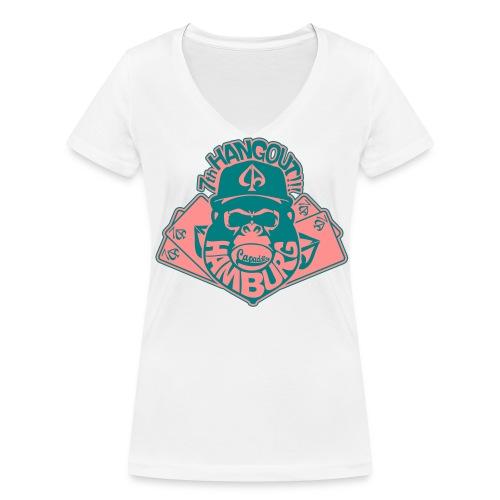 White/Rosa/Smaragdgrün - Frauen Bio-T-Shirt mit V-Ausschnitt von Stanley & Stella