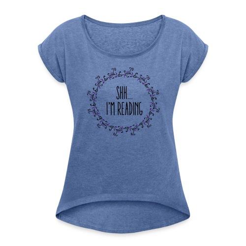 books - T-shirt med upprullade ärmar dam