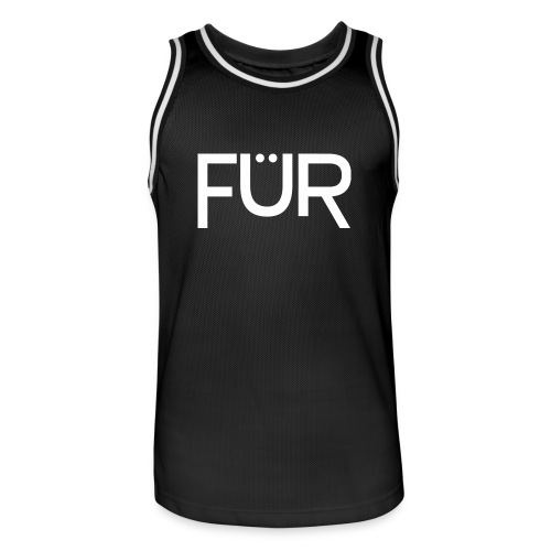 FÜR Magazine Men's Basketballshirt White On Black - Men's Basketball Jersey