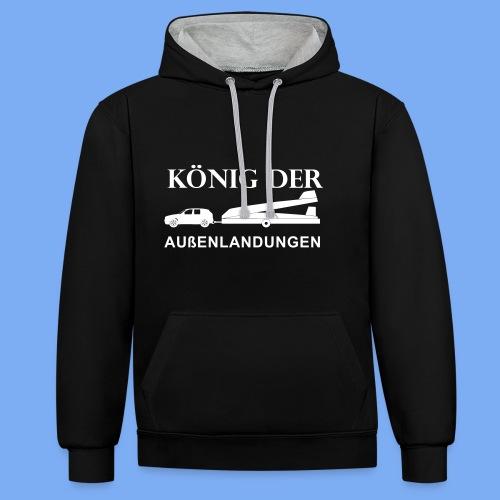 König der Außenlandung - Segelflieger Tasche Beutel - Contrast Colour Hoodie