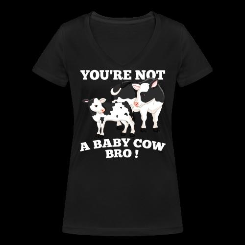Baby Cow_Bro! Female Slim fit - Vrouwen bio T-shirt met V-hals van Stanley & Stella