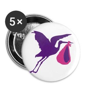 ooievaar meisje button - Buttons groot 56 mm