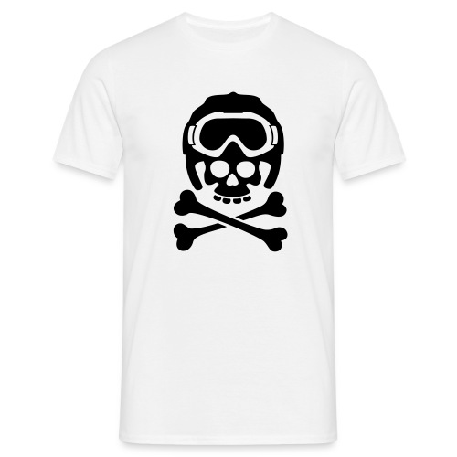 Totenkopf mit Skihelm und Skibrille - Männer T-Shirt