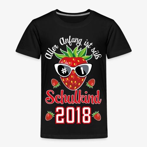 Schulkind 2018 Erdbeere Aller Anfang ist süß T-Shirts 02 - Kinder Premium T-Shirt