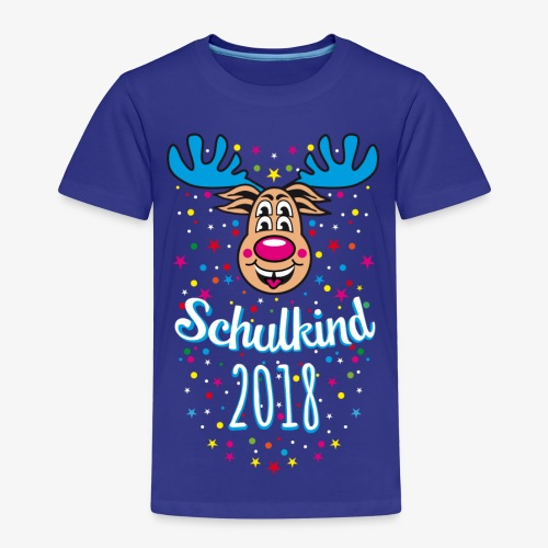 Schulkind 2018 Hirsch Rudi Blau Crazy T-Shirt 03 - Kinder Premium T-Shirt