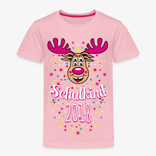 Schulkind 2018 Hirsch Rudi Pink Crazy T-Shirt 04 - Kinder Premium T-Shirt