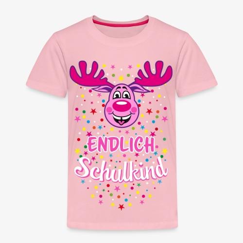 Endlich Schulkind Hirsch Rudi Pink T-Shirt 06 - Kinder Premium T-Shirt