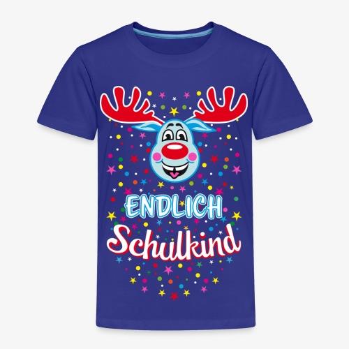 Endlich Schulkind Hirsch Rudi Blau T-Shirt 07 - Kinder Premium T-Shirt