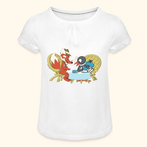 Fuchs und Elster beim Kaffeeklatsch Girlie-Shirt - Mädchen-T-Shirt mit Raffungen
