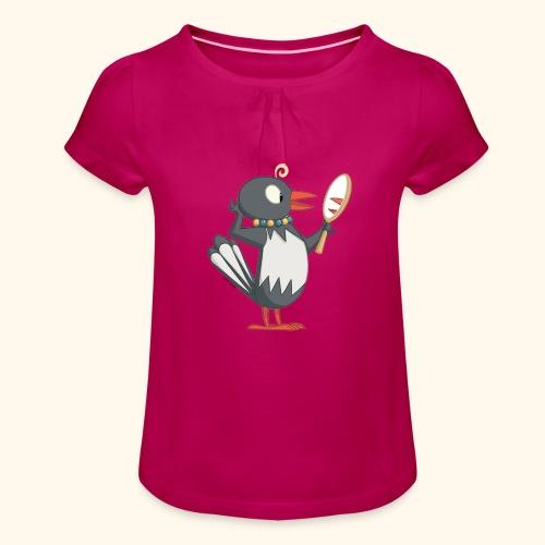 Frau Ester mit Spiegel Girlie-Shirt - Mädchen-T-Shirt mit Raffungen