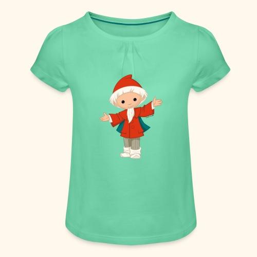 Sandmännchen winkt Girlie-Shirt - Mädchen-T-Shirt mit Raffungen