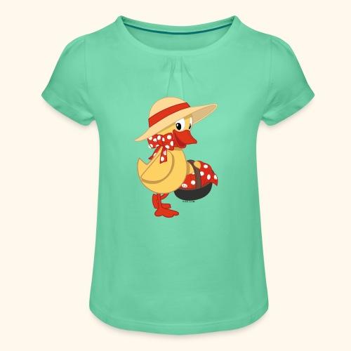 Schnatterinchen mit Korb Girlie-Shirt - Mädchen-T-Shirt mit Raffungen