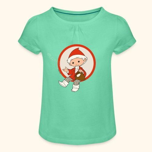 Sandmännchen Girlie-Shirt - Mädchen-T-Shirt mit Raffungen