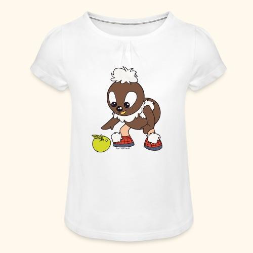 Pitti mit Apfel Girlie-Shirt - Mädchen-T-Shirt mit Raffungen