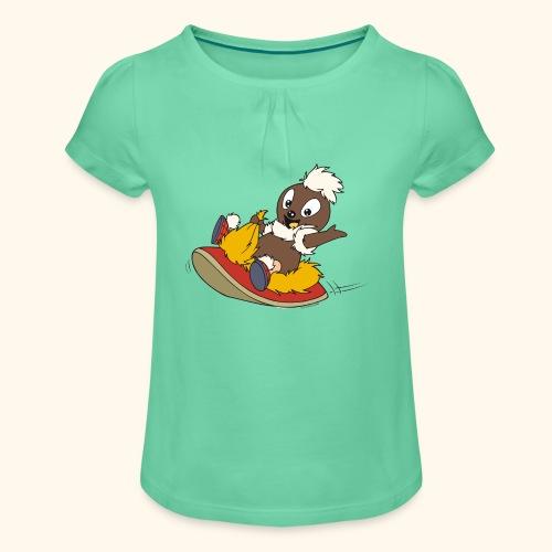 Pitti auf Pantoffel Girlie-Shirt - Mädchen-T-Shirt mit Raffungen