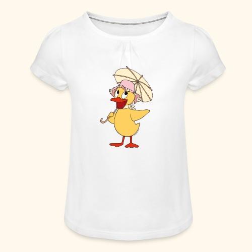 Schnatterinchen mit Schirm Girlie-Shirt - Mädchen-T-Shirt mit Raffungen