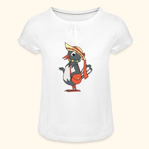 Frau Elster mit Tasche und Hut  Girlie-Shirt - Mädchen-T-Shirt mit Raffungen