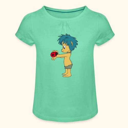 Plumps mit Marienkäfer Girlie-Shirt - Mädchen-T-Shirt mit Raffungen
