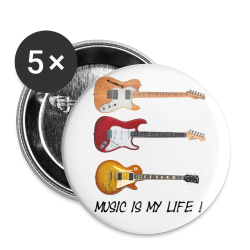 Buttons - 5 pack - Music is my life - Stor pin 56 mm