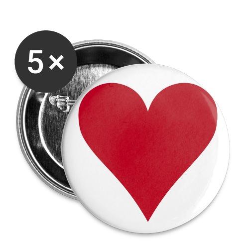 Buttons - 5 pack - Hjerte - Stor pin 56 mm