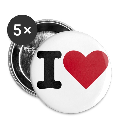 Buttons - 5 pack - I love - Stor pin 56 mm