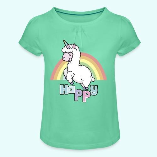 Happy Lama by myLilimals - Mädchen-T-Shirt mit Raffungen