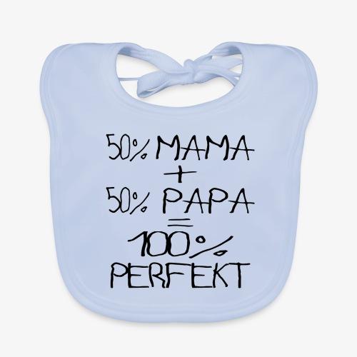 Baby Bio-Lätzchen 50% Mama 50% Papa 100%Perfekt Kinderschrift  - Baby Bio-Lätzchen