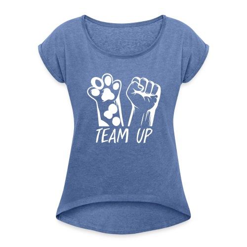 Frauen Shirt Hundefreunde - Frauen T-Shirt mit gerollten Ärmeln