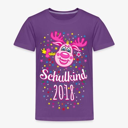 Schulkind 2018 Hirsch Rudi Pink Mädchen Glitzer 08 - Kinder Premium T-Shirt