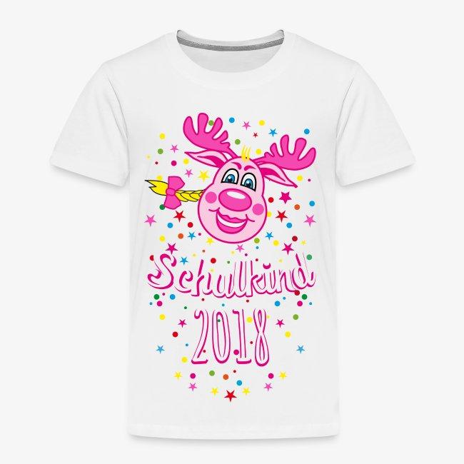 Schulkind 2018 Hirsch Rudi Pink Mädchen Glitzer 08