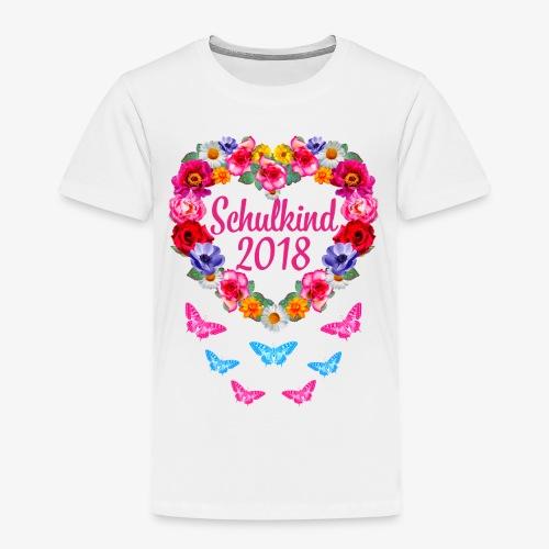 Schulkind 2018 Blumenkranz Schmetterlinge T-Shirt 16 - Kinder Premium T-Shirt