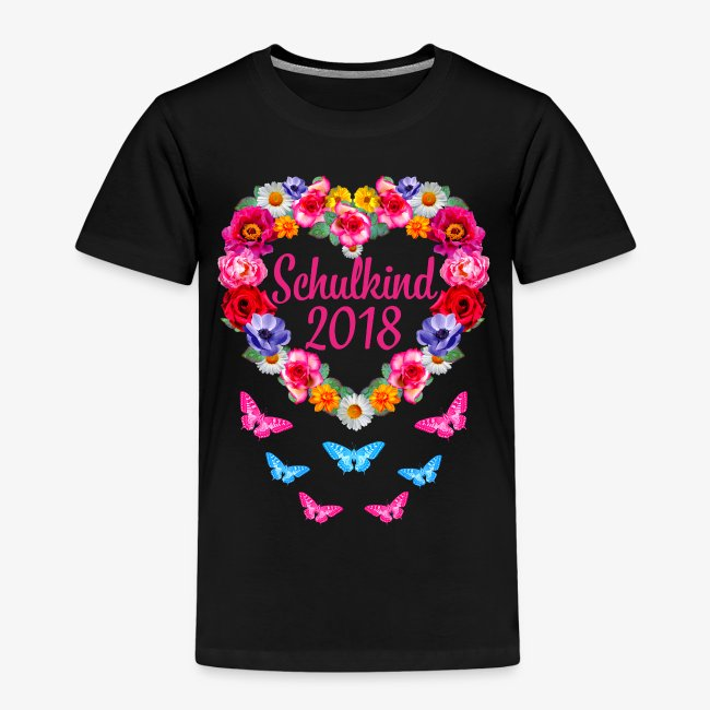 Schulkind 2018 Blumenkranz Schmetterlinge T-Shirt 16