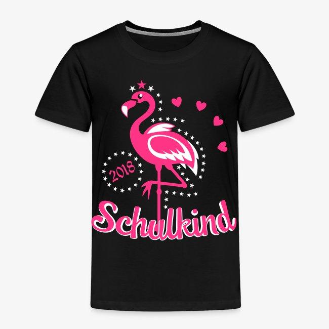 Schulkind 2018 Flamingo Sternchen Herzchen T-Shirt 17