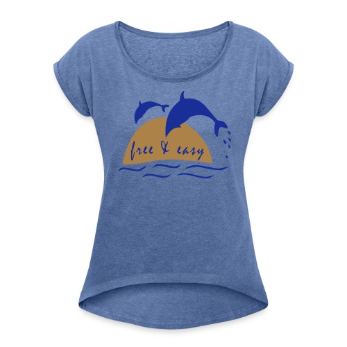Delfine - Frauen T-Shirt mit gerollten Ärmeln