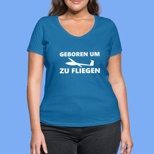 Geboren um Segelfliegen zu gehen - Segelflieger Geschenk Idee lustig - Women's Organic V-Neck T-Shirt by Stanley & Stella