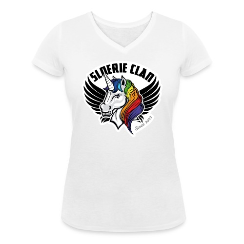 Sloerie Clan T-shirt White Ladies - Women's Organic V-Neck T-Shirt by Stanley & Stella