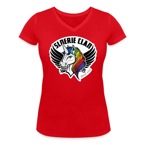Sloerie Clan T-shirt Red Ladies - Women's Organic V-Neck T-Shirt by Stanley & Stella