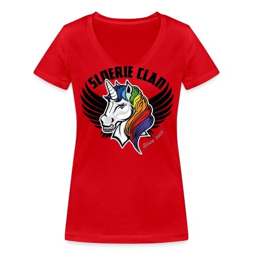 Sleek SloerieClan Logo on Red shirt - Women's Organic V-Neck T-Shirt by Stanley & Stella