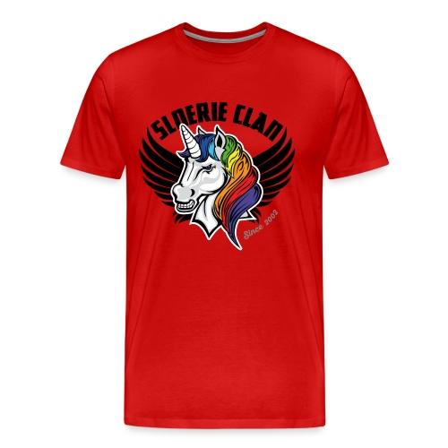 Sleek SloerieClan Logo on Red shirt - Men's Premium T-Shirt