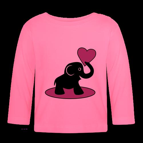 Süßer Elefant mit Herz Baby Langarmshirt - Baby Langarmshirt