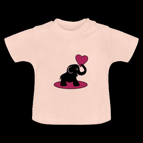 Süßer Elefant mit Herz Baby T-Shirt - Baby T-Shirt