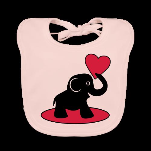 Süßer Elefant mit Herz Baby Geschenk Lätzchen - Baby Bio-Lätzchen
