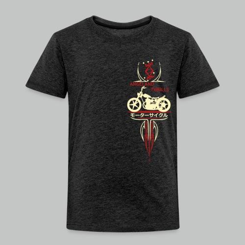 Kids - Angeland Thrills + Vertical Twin (B) - Cream & Red Small logo front + Back - Kids' Premium T-Shirt