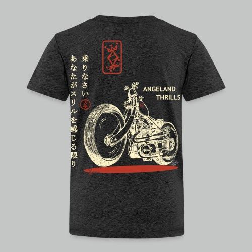 Kids - Angeland Thrills + Japanese & Bike - Cream & Red Small logo front + Back - Kids' Premium T-Shirt