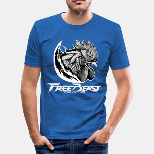 FREEBEAST - COQ SILVER - T-Shirt bleu homme - T-shirt près du corps Homme