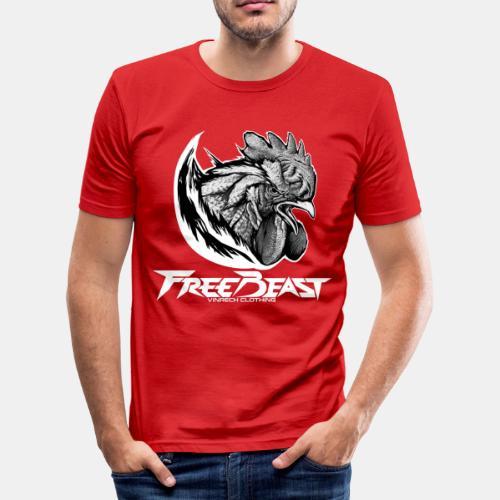 FREEBEAST - COQ SILVER - T-Shirt rouge homme - T-shirt près du corps Homme